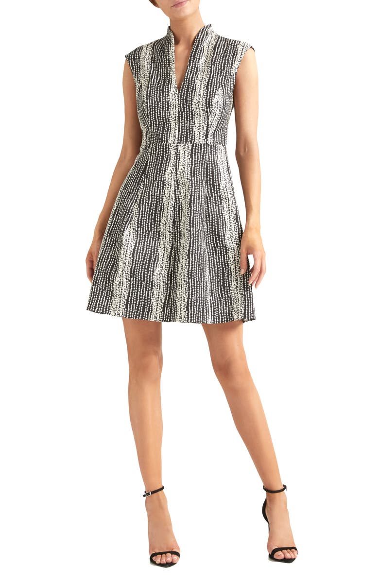 HALSTON HERITAGE Cap Sleeve Cocktail Dress, Main, color, BLACK/ CREAM LINEAR DOT PRINT