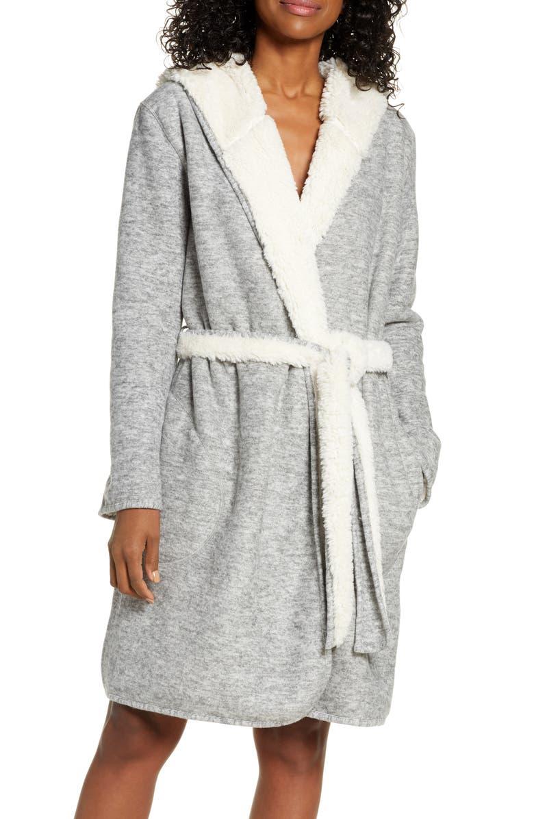 UGG<SUP>®</SUP> Portola Reversible Hooded Robe, Main, color, GREY HEATHER