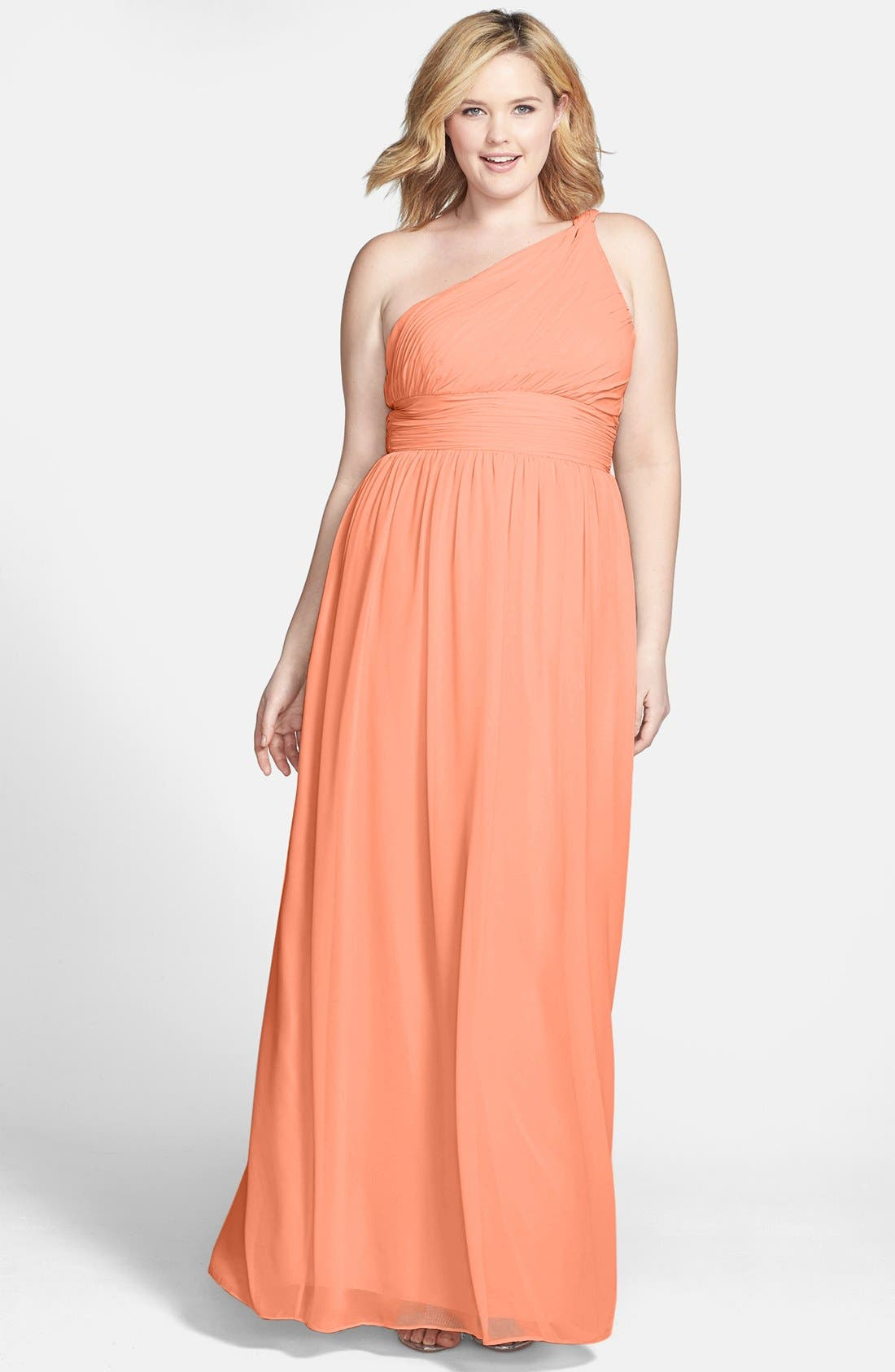 ,                             'Rachel' Ruched One-Shoulder Chiffon Gown,                             Alternate thumbnail 126, color,                             800