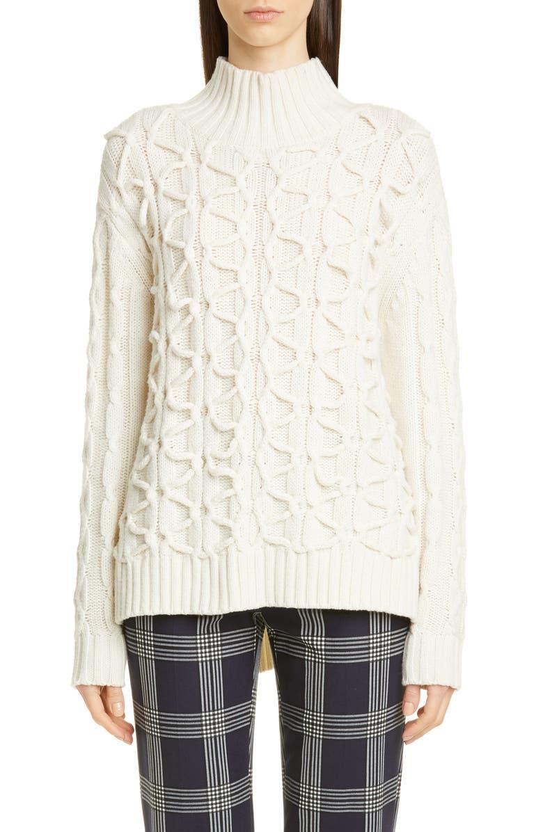 Lela Rose Textured Wool Cashmere Turtleneck Sweater