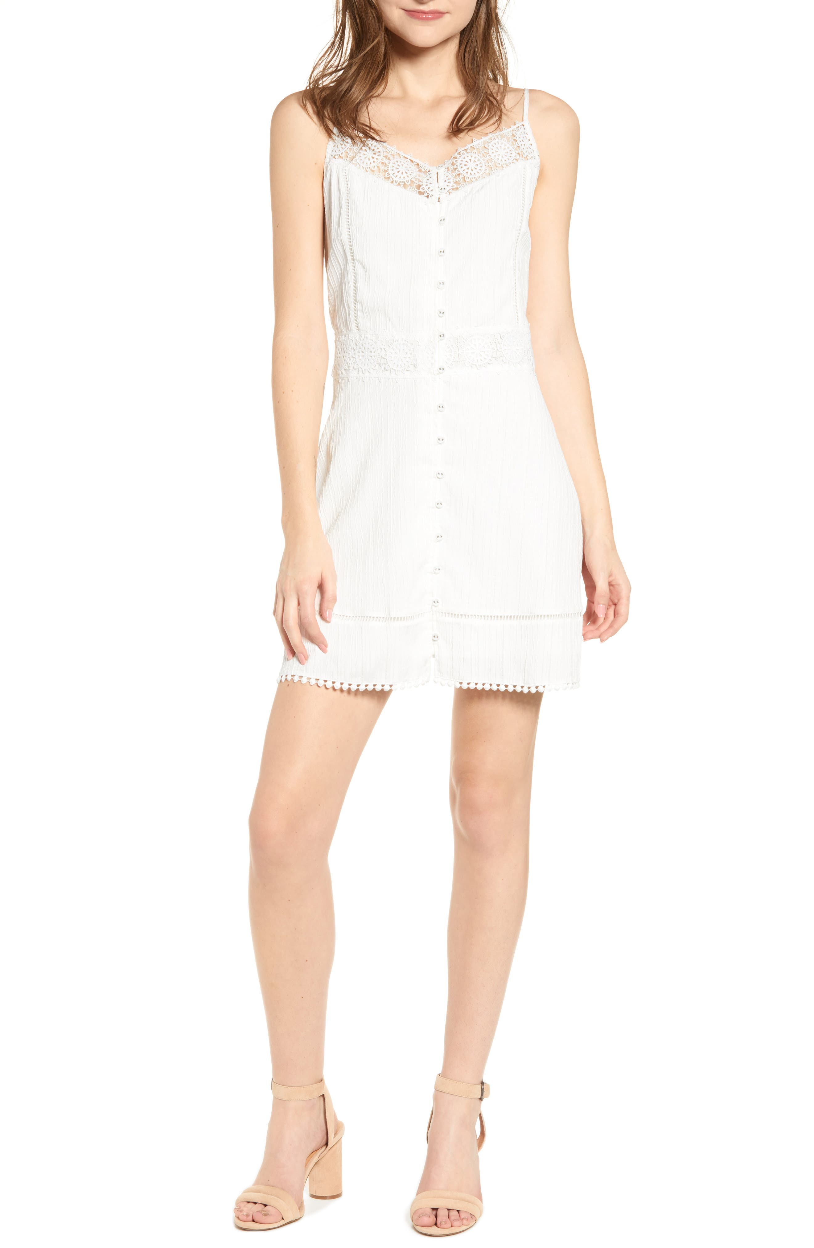 Cupcakes And Cashmere Alliaura Mix Lace Sundress, White
