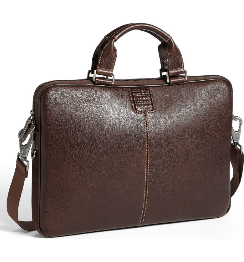 BOCONI 'Tyler' Leather Laptop Briefcase, Main, color, COFFEE/ KHAKI