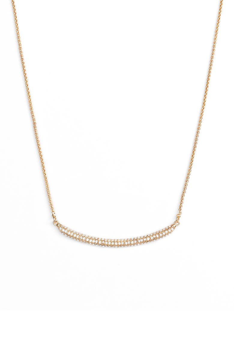 VINCE CAMUTO Curved Pavé Bar Necklace, Main, color, GOLD/ CRYSTAL