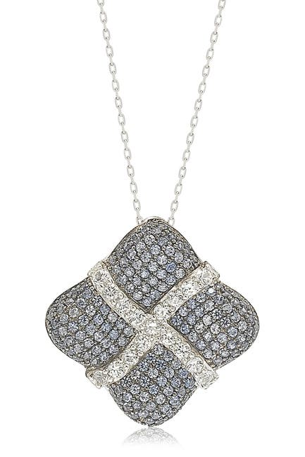 Image of Suzy Levian Sterling Silver Sapphire & Diamond Wrapped Cushion Pendant - 0.02 ctw