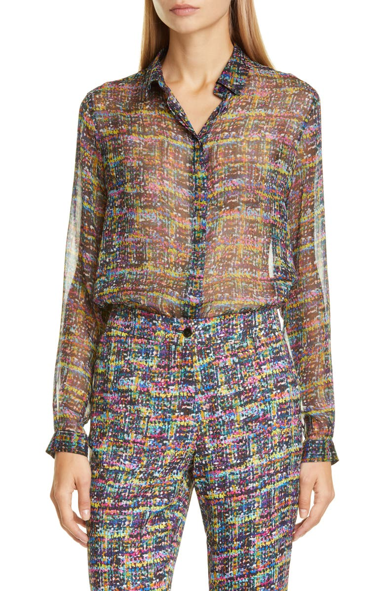 ETRO Tweed Print Silk Tunic Blouse, Main, color, PURPLE