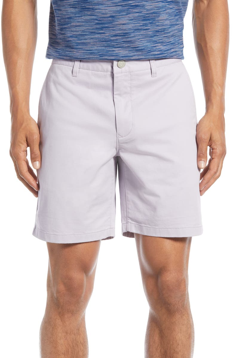 BONOBOS Stretch Washed Chino 7-Inch Shorts, Main, color, LAVENDER CLOUD