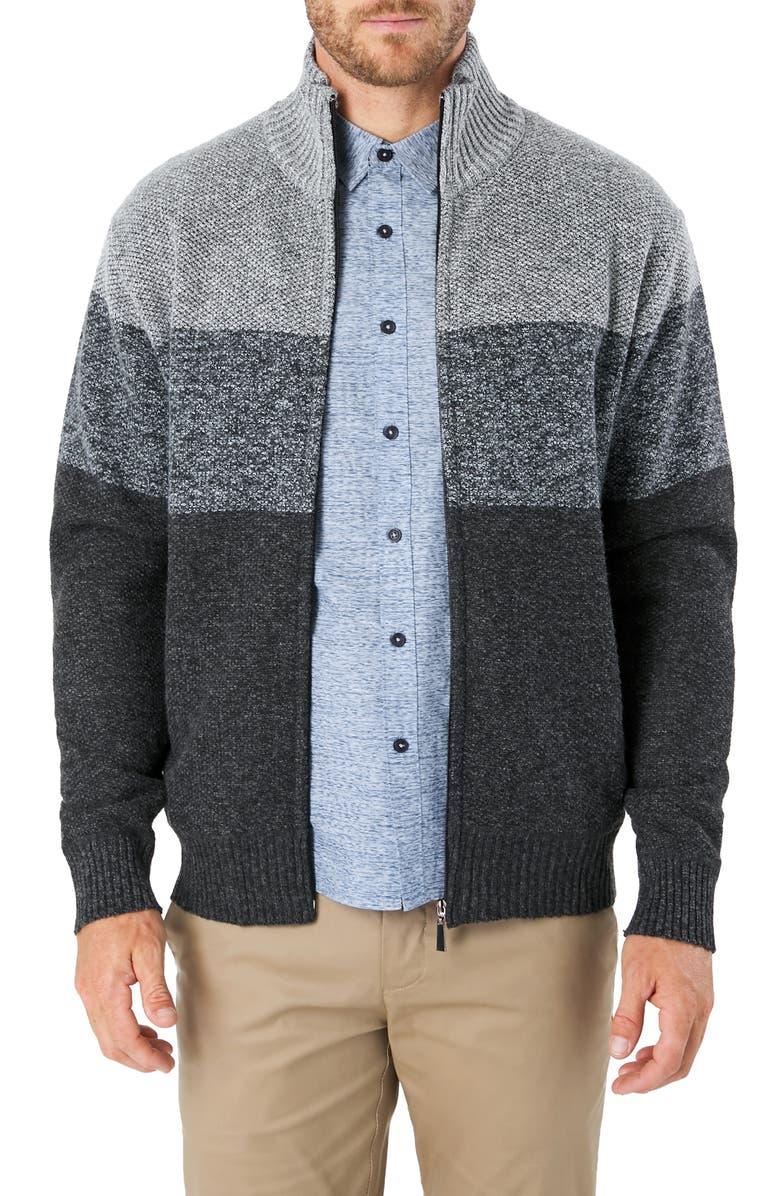 7 DIAMONDS Vienna Regular Fit Colorblock Zip Sweater, Main, color, CHARCOAL/ GREY