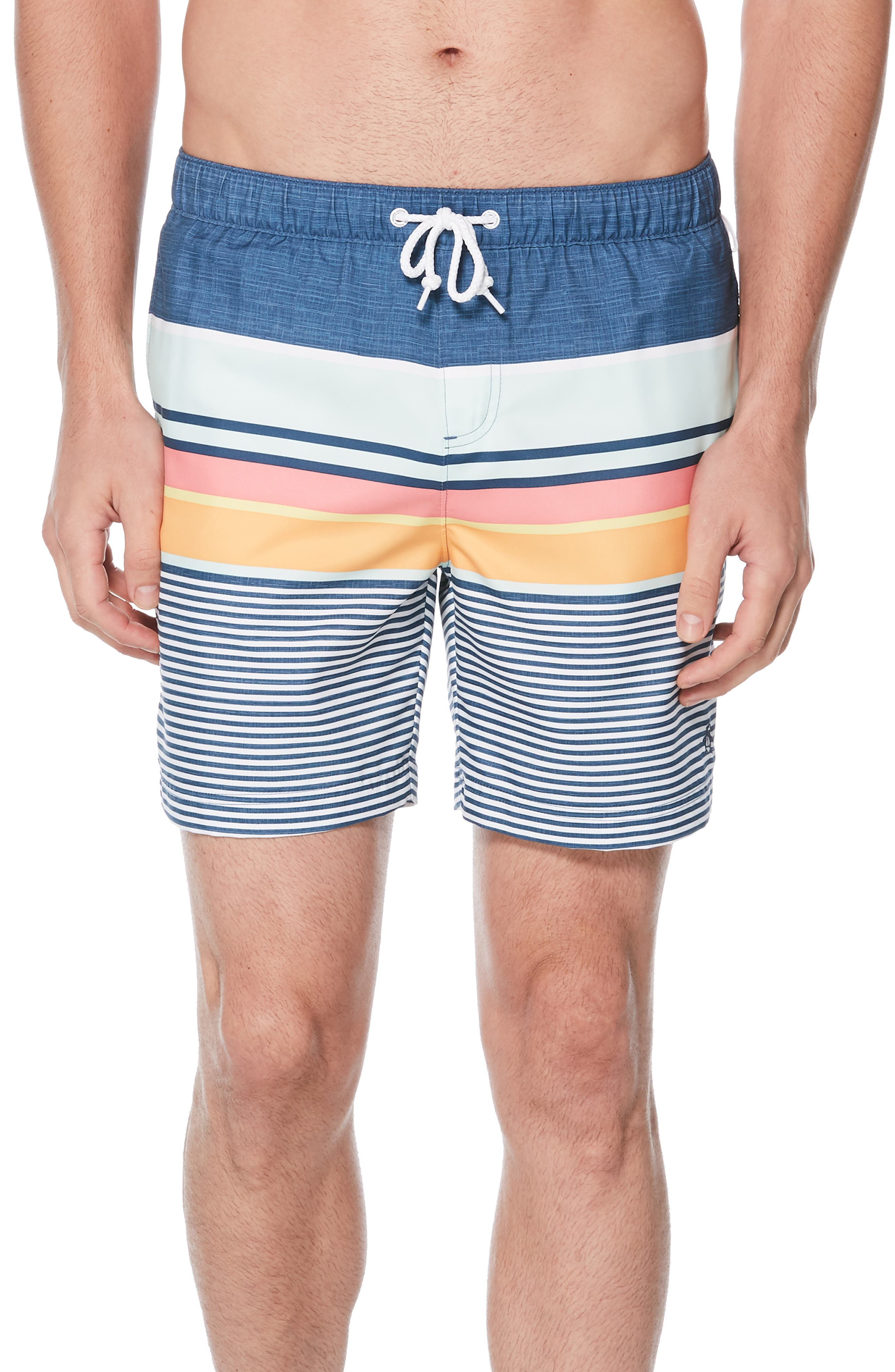082415c707 Original Penguin Engineered Stripe Volley Swim Trunks, Blue