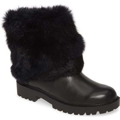 Charles David Render Genuine Rabbit Fur Trim Boot- Black