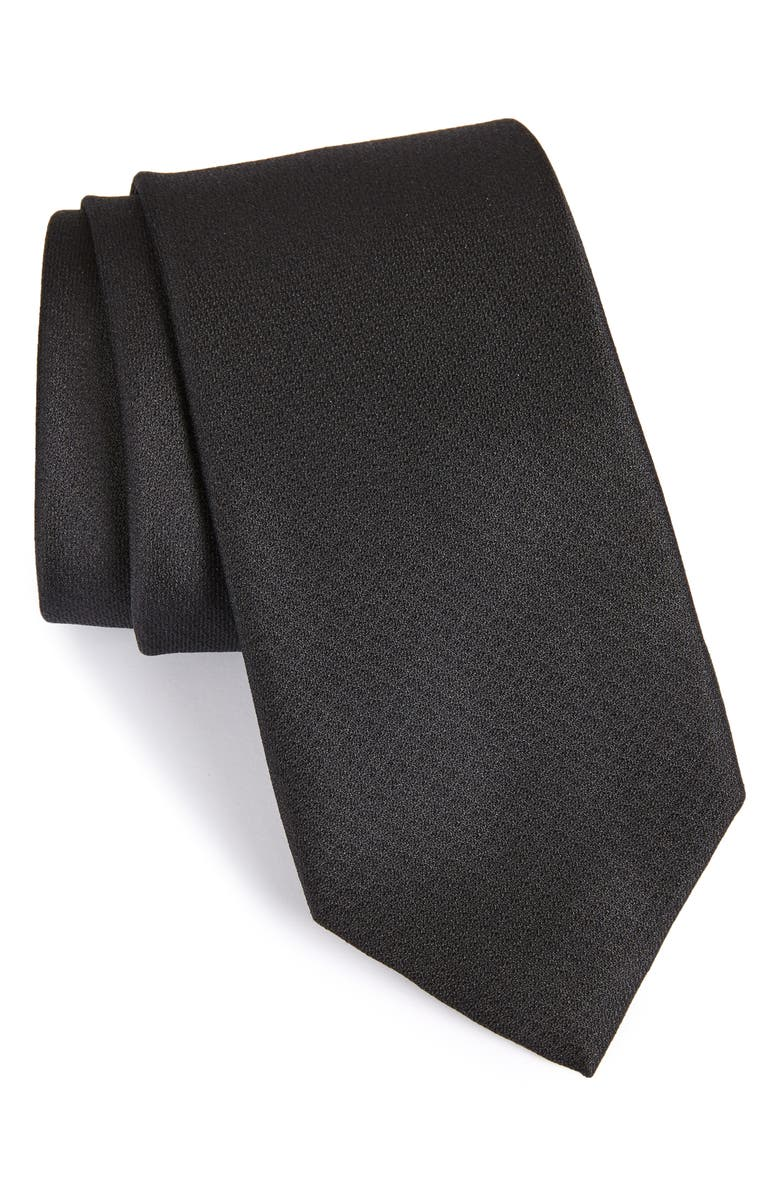CALIBRATE Clara Solid Silk Tie, Main, color, BLACK