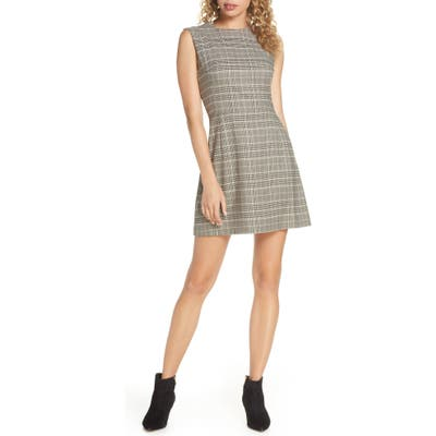 French Connection Amati Check Sundae Sleeveless A-Line Dress, Grey
