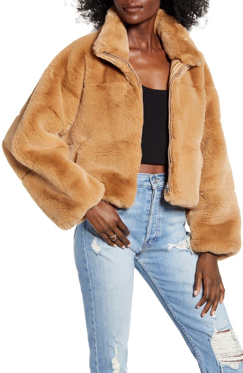 TIGER MIST Xander Faux Fur Jacket, Main, color, TAN