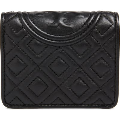 Tory Burch Mini Fleming Quilted Lambskin Leather Bifold Wallet - Black