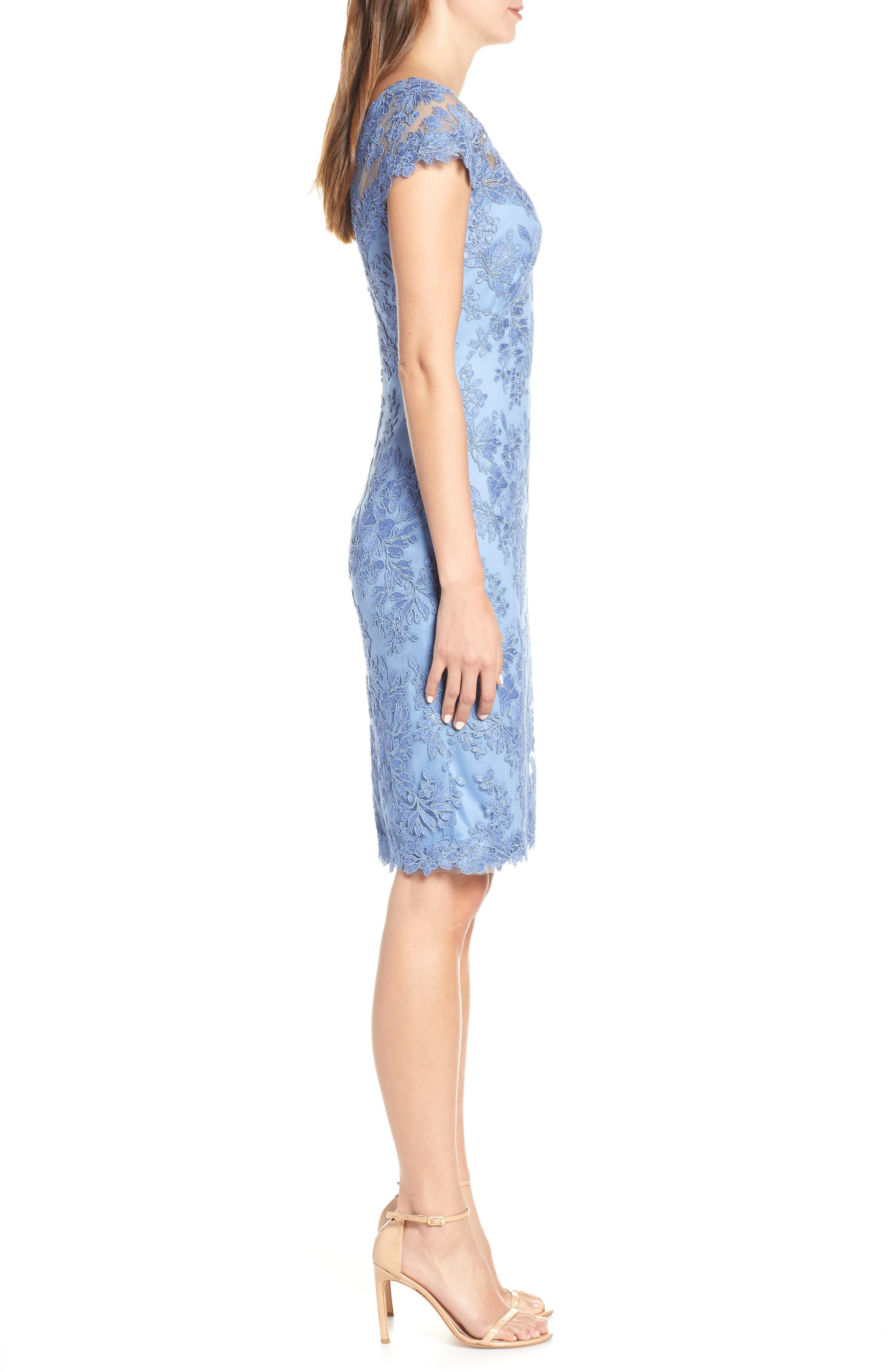 ,                             Corded Lace Sheath Dress,                             Alternate thumbnail 4, color,                             BLUE STONE