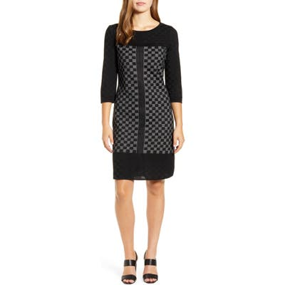 Ming Wang Check Sweater Dress, Grey