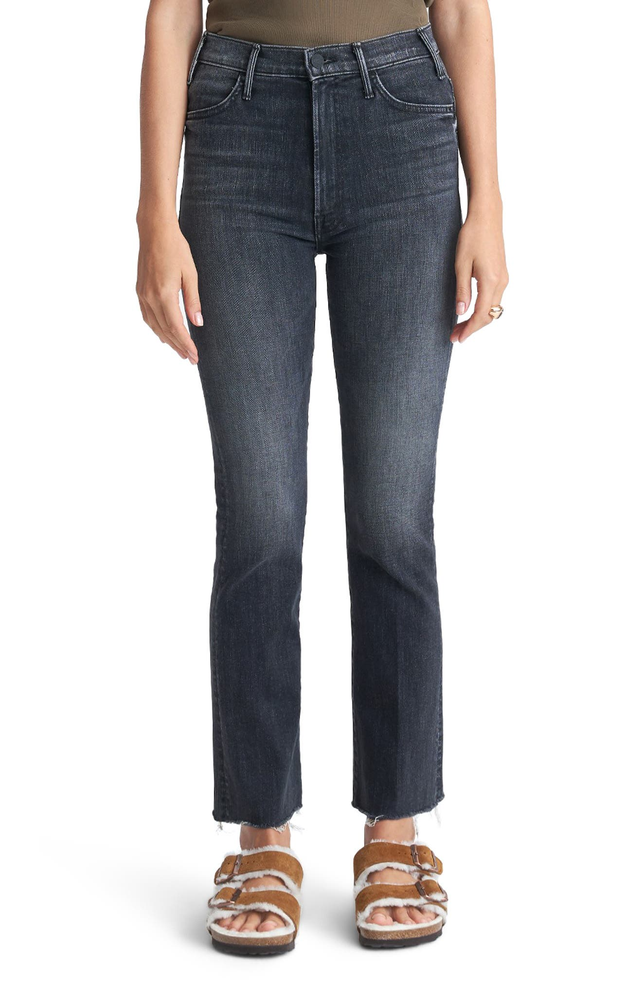 MOTHER The Hustler High Waist Ankle Fray Jeans (Night Owl)