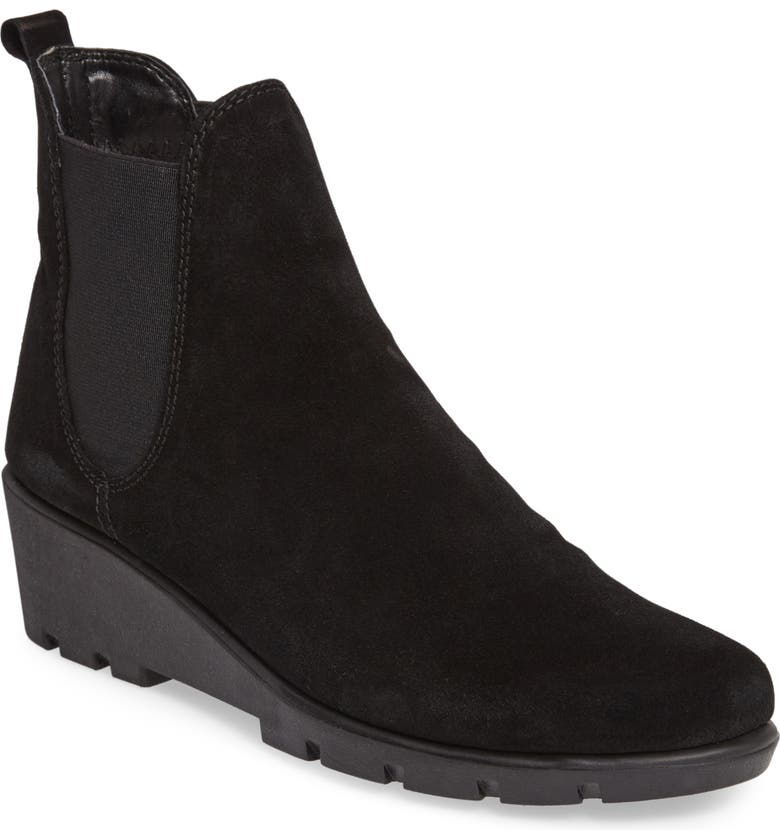 THE FLEXX Slimmer Chelsea Wedge Boot, Main, color, BLACK WATERPROOF SUEDE