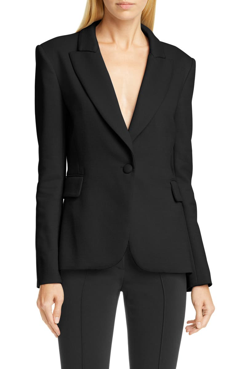 ADAM LIPPES Double Face Wool Blend Blazer, Main, color, BLACK