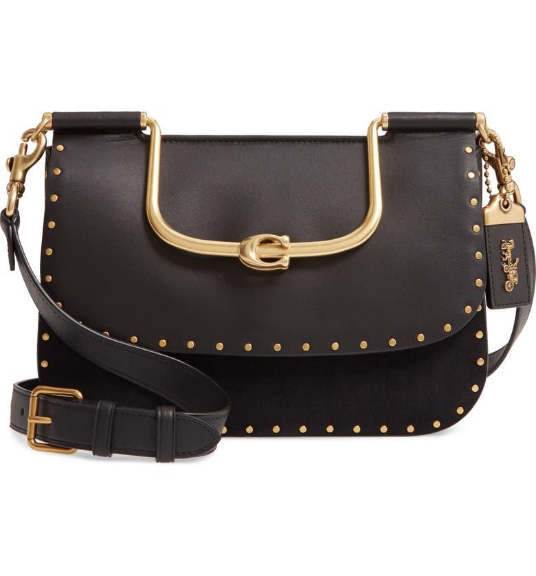COACH Ellie Rivets Leather & Suede Crossbody Bag, Main, color, 012