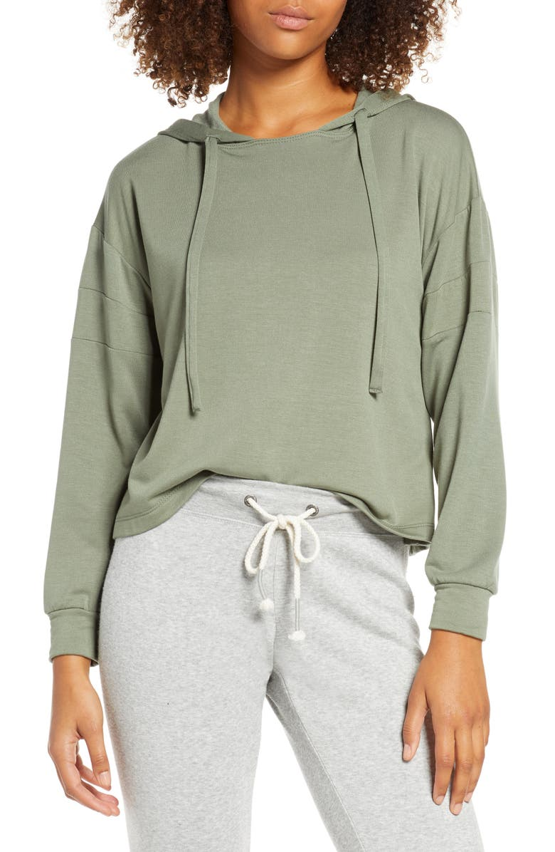 PROJECT SOCIAL T Cooper Crop Hoodie, Main, color, GREY OLIVE