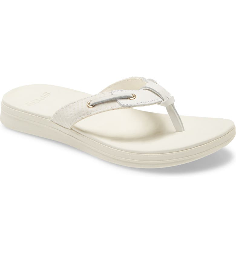 SPERRY Adriatic Flip Flop, Main, color, WHITE TEXTILE AND LEATHER