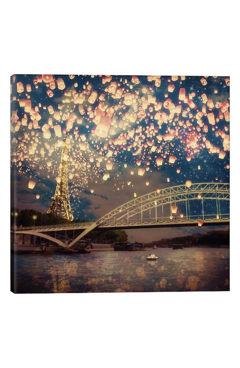 ICANVAS Love Wish Lanterns over Paris Giclée Print Canvas Art, Main, color, GREEN