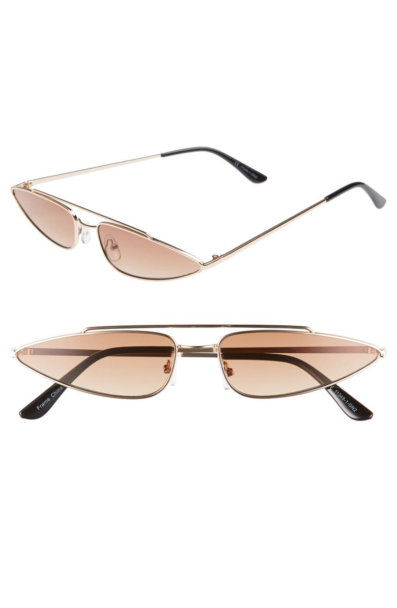 LEITH 64mm Thin Cat Eye Sunglasses, Main, color, 200