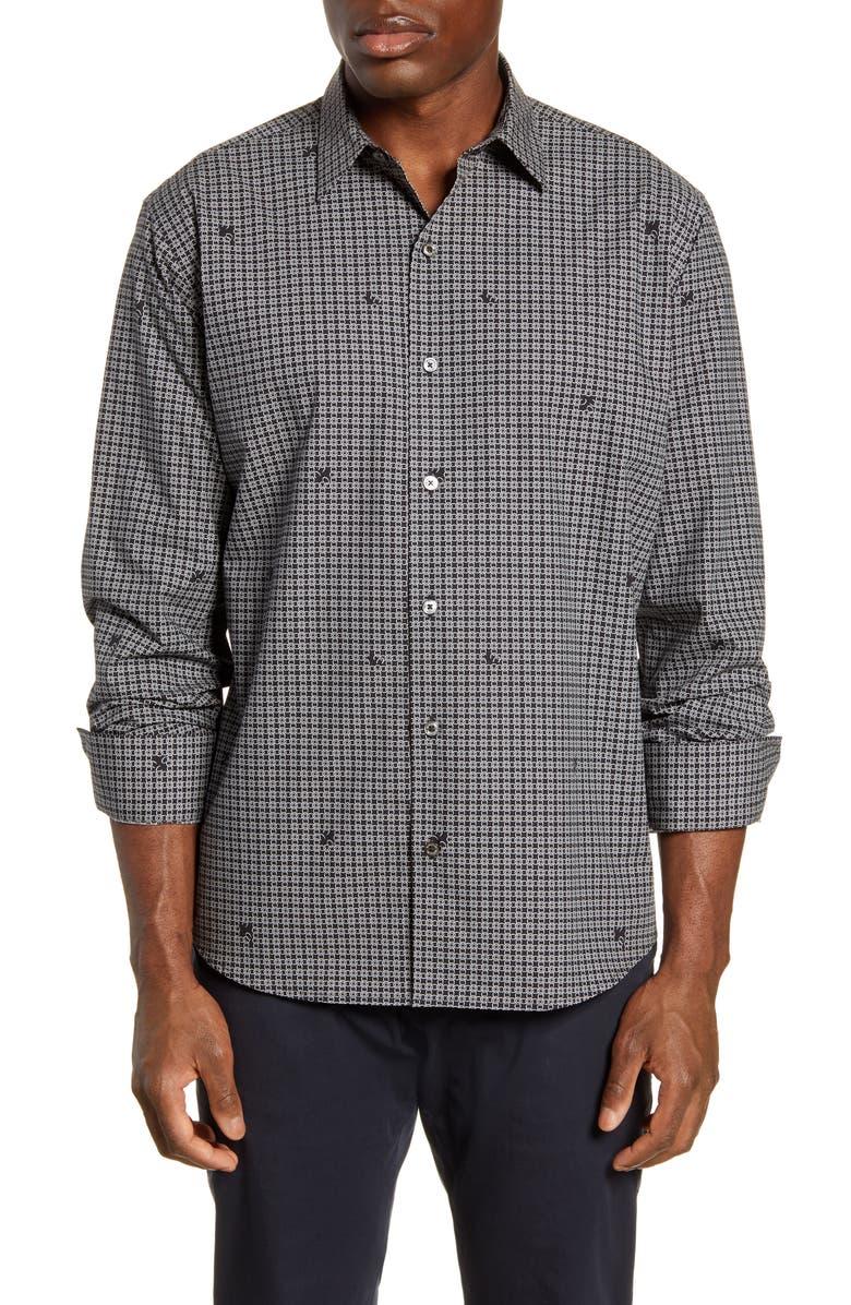 BUGATCHI Classic Fit Button-Up Shirt, Main, color, CAVIAR