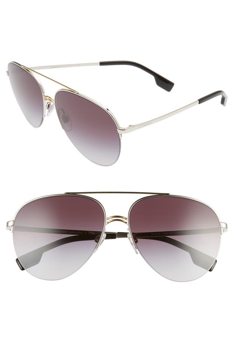 BURBERRY 59mm Polarized Aviator Sunglasses, Main, color, 040