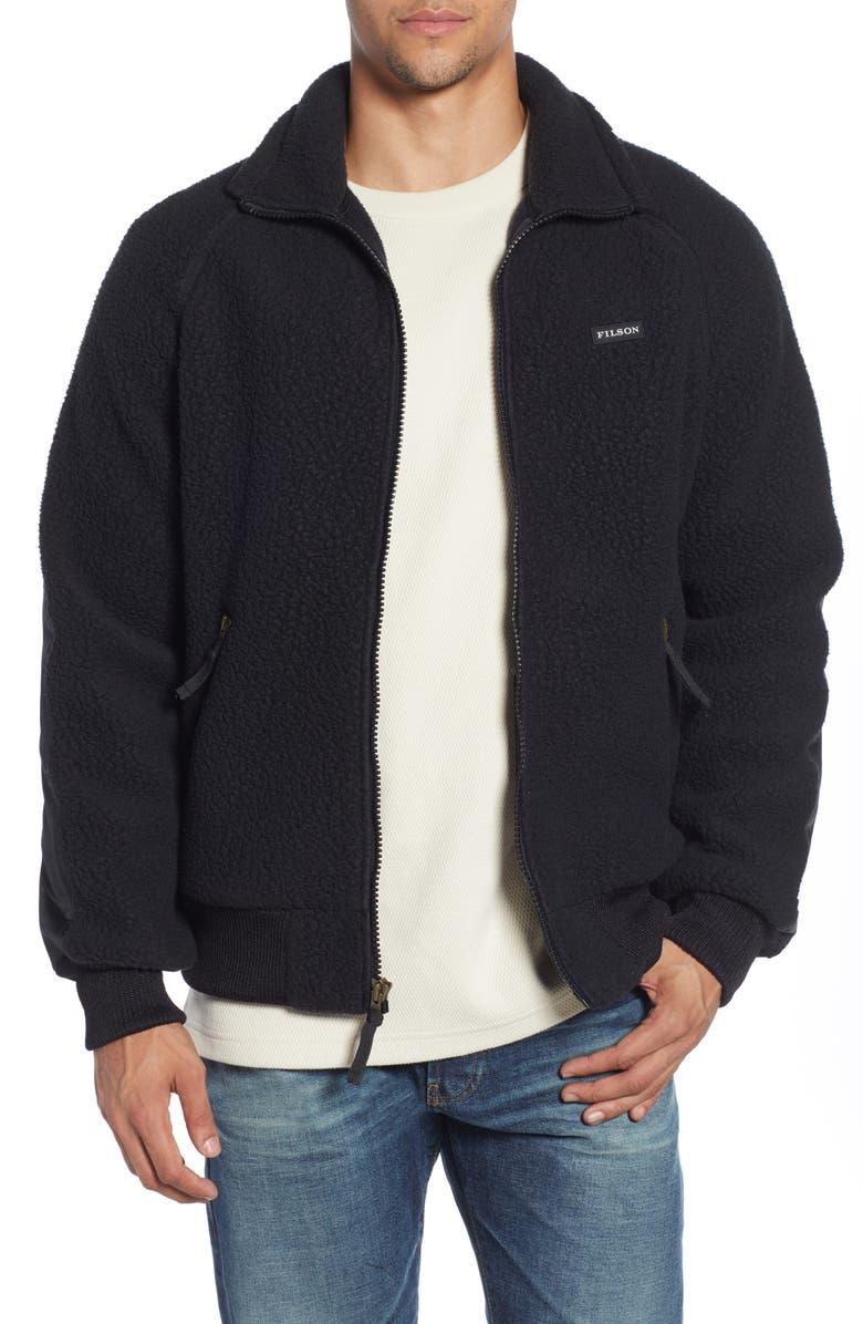 FILSON Regular Fit Fleece Jacket, Main, color, BLACK