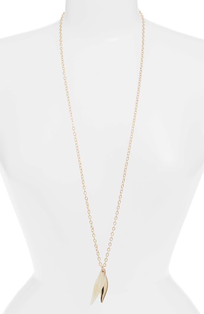 AKOLA Briar Long Pendant Necklace, Main, color, BLONDE