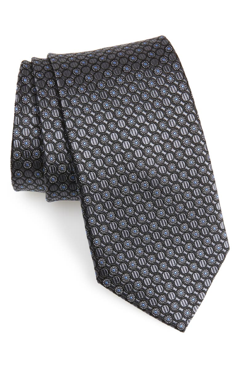NORDSTROM MEN'S SHOP Geometric Silk Tie, Main, color, BLACK
