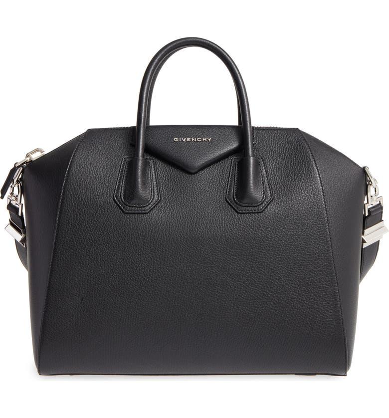 GIVENCHY 'Medium Antigona' Sugar Leather Satchel, Main, color, BLACK