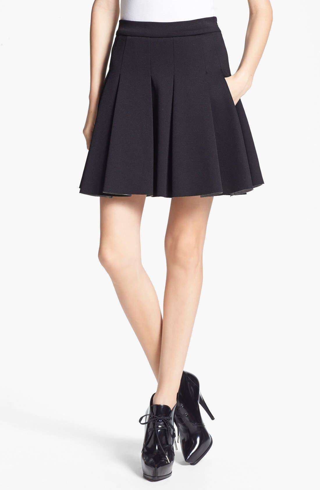 ,                             T by Alexander Wang Bonded Jersey & Neoprene Skirt,                             Main thumbnail 1, color,                             001