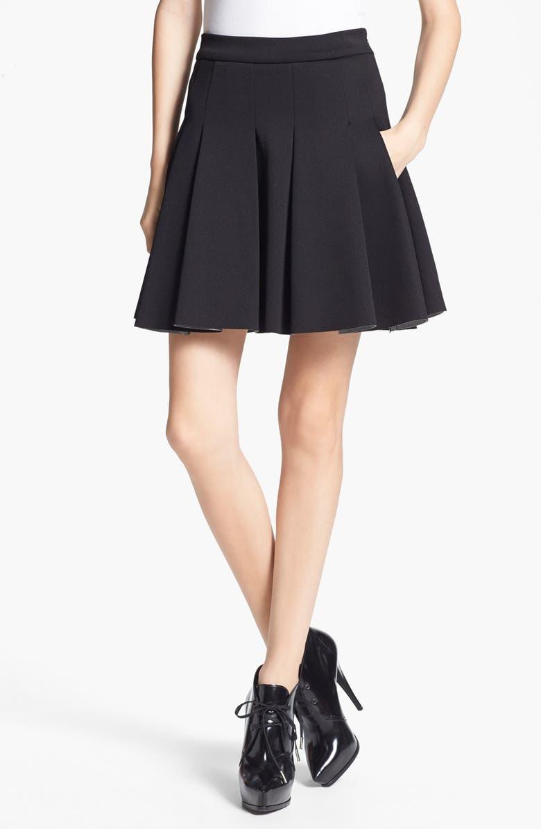 ALEXANDERWANG.T T by Alexander Wang Bonded Jersey & Neoprene Skirt, Main, color, 001