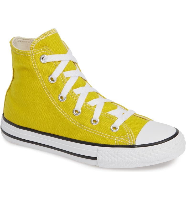 CONVERSE Chuck Taylor<sup>®</sup> High Top Sneaker, Main, color, BOLD CITRON/ NATURAL IVORY