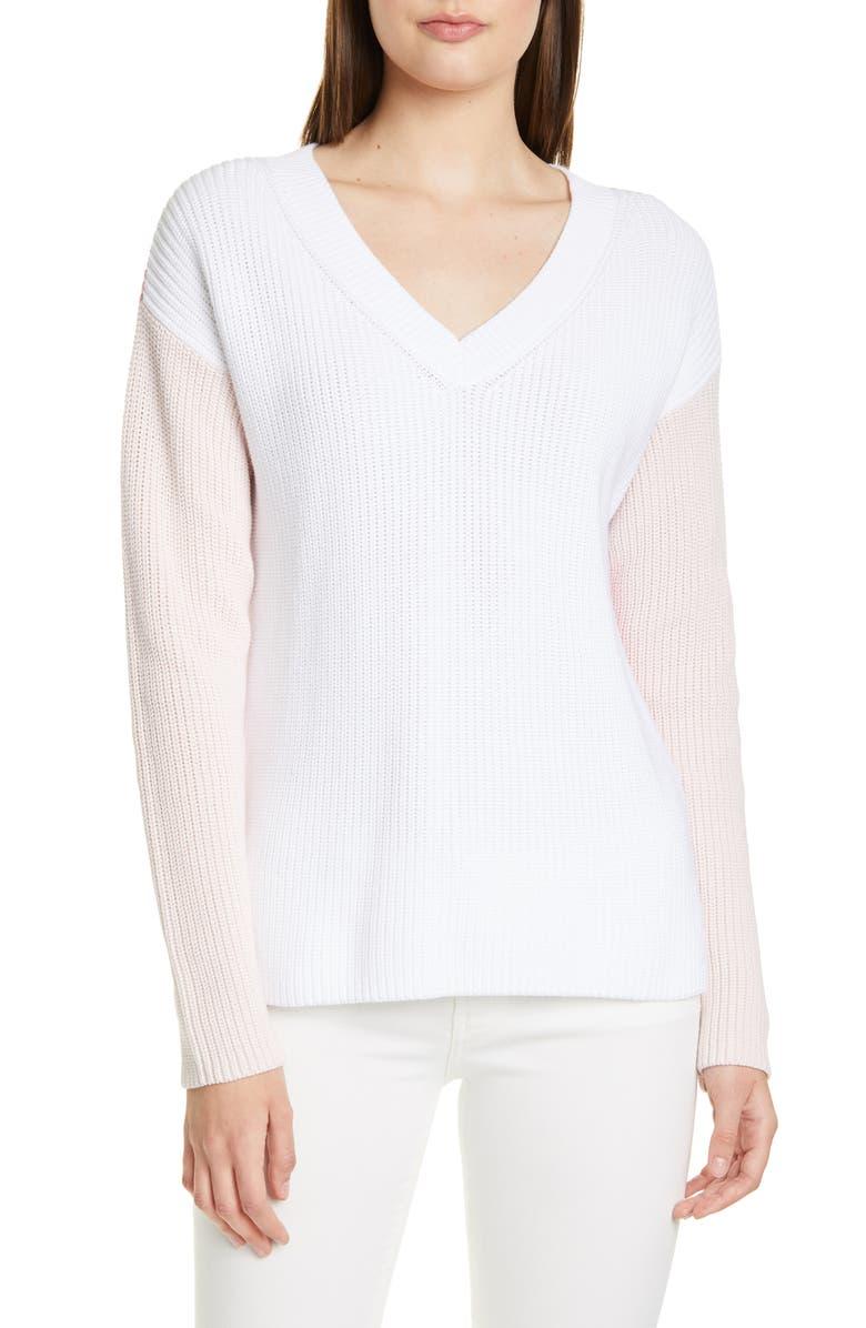 HUGO Sonomi V-Neck Sweater, Main, color, 100