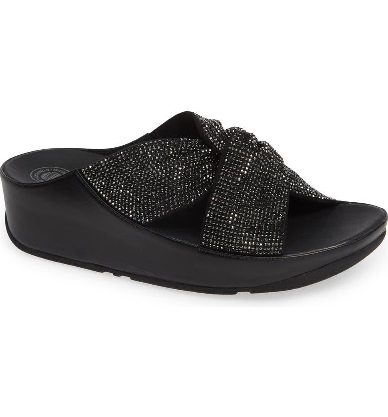 FITFLOP Twiss Crystal Embellished Slide Sandal, Main, color, 001
