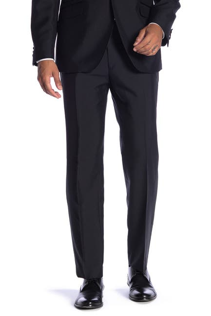 "Image of SAVILE ROW CO New Heathrow Black Modern Fit Tuxedo Pants - 30-34"" Inseam"