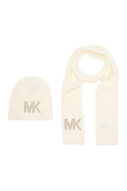 Image of Michael Kors Studded MK Hat & Muffler Set