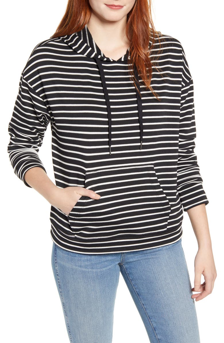 CASLON<SUP>®</SUP> Hoodie Sweatshirt, Main, color, BLACK IVORY DANA STRIPE