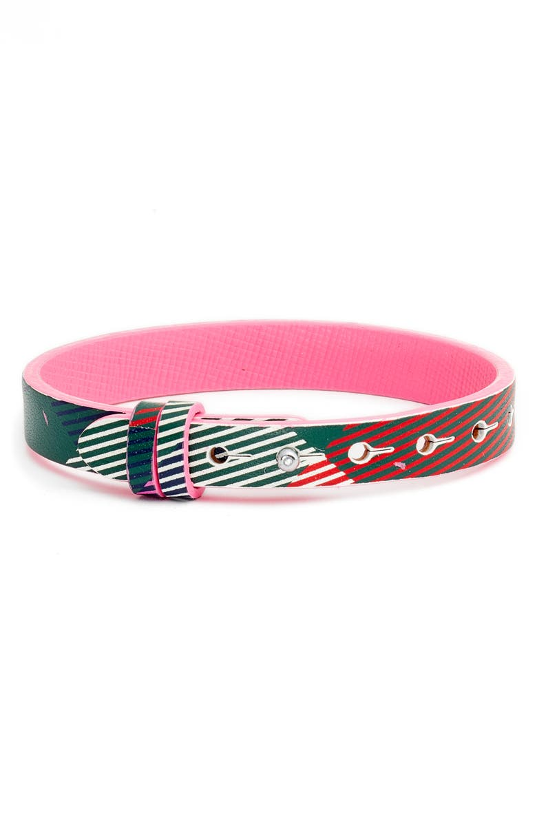 KEEP COLLECTIVE Patterned Reversible Leather Band Charm Bracelet, Main, color, PINK/ SILVER