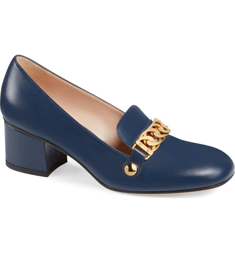 GUCCI Sylvie Loafer Pump, Main, color, BLUE