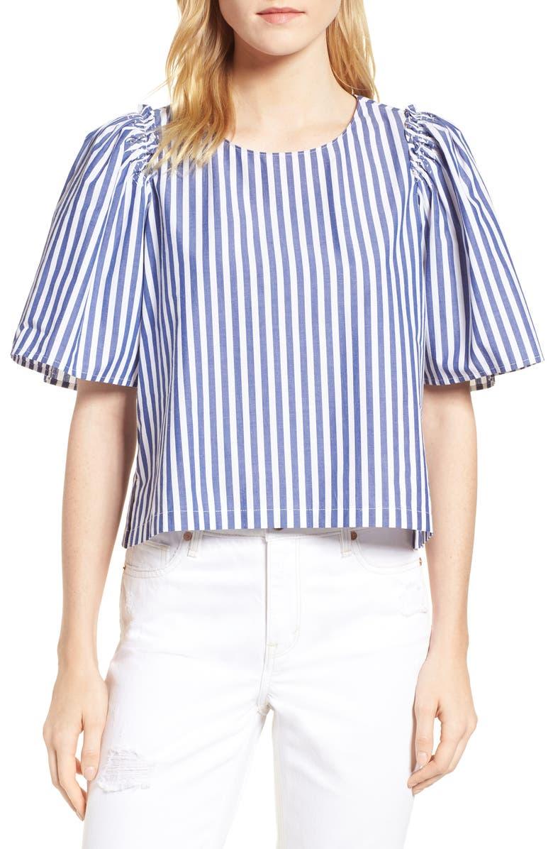 HABITUAL Valeria Stripe Stretch Cotton Top, Main, color, 498