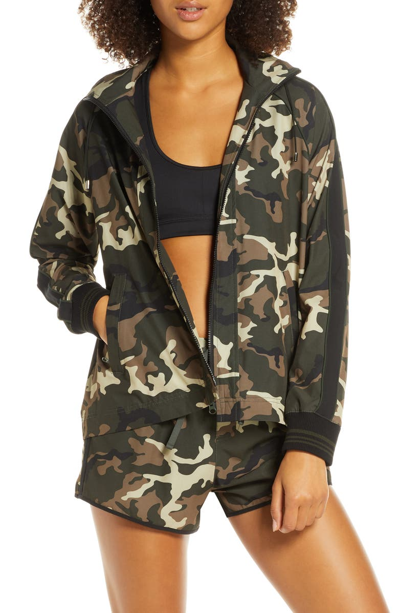 THE UPSIDE Forest Camo Ash Water Resistant Hooded Jacket, Main, color, CAMO/ MULTI