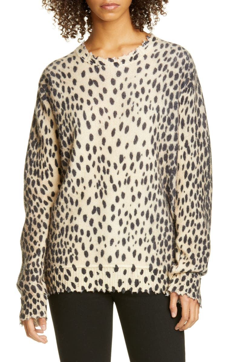 R13 Cheetah Print Distressed Cashmere Sweater, Main, color, CHEETAH PRINT
