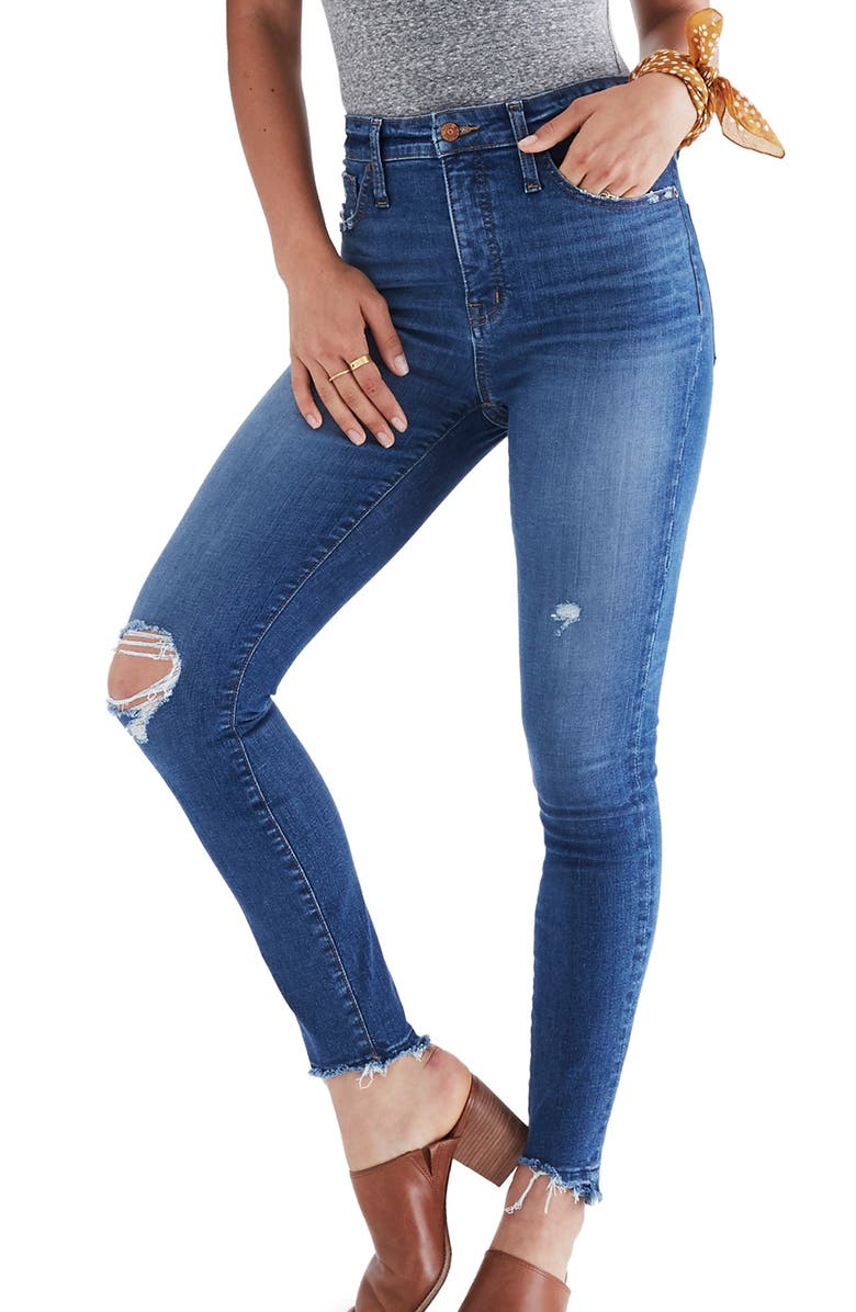 MADEWELL Drop Step Hem Curvy High Waist Skinny Jeans, Main, color, 400