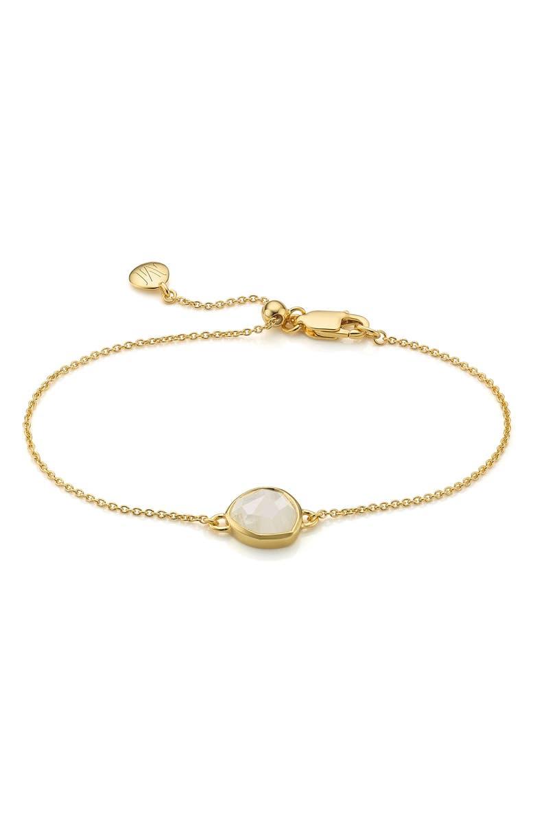 MONICA VINADER 'Mini Siren' Fine Chain Bracelet, Main, color, MOONSTONE/ YELLOW GOLD