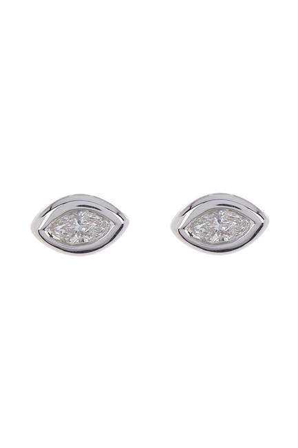 Image of Bony Levy 18K White Gold Diamond Marquis Bezel Stud Earrings - 0.17 ctw