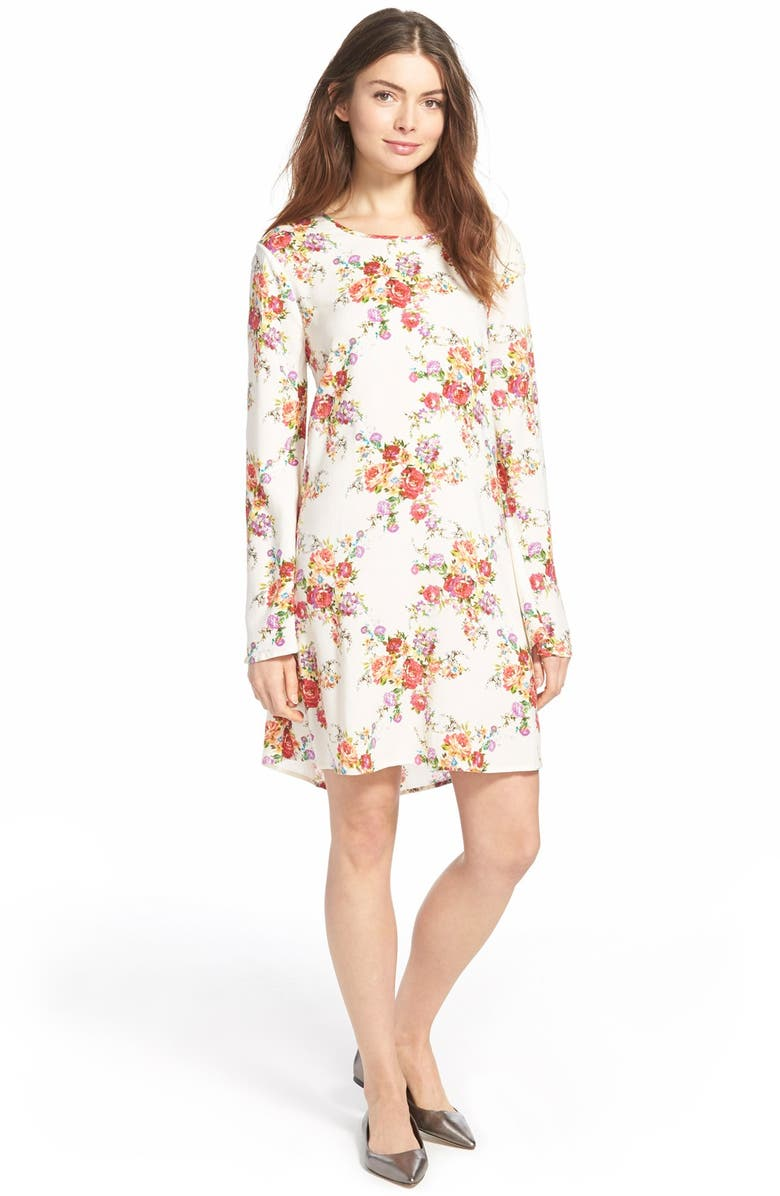 ZOE AND ROSE Open Back Floral Print Shift Dress, Main, color, 110